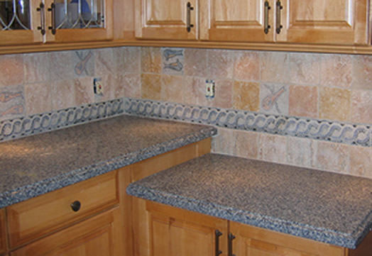 Mosaic as borders and Inserts in the kitchen